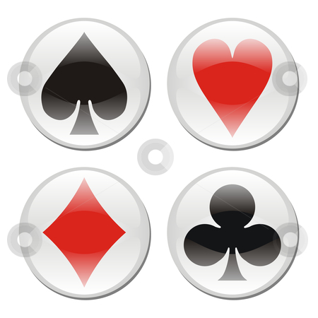 Poker card icons on white stock vector clipart, Glossy playcard icons framed in circles on white background. Vector available by Cienpies Design