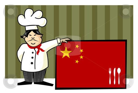 Chef of chinese cuisine stock vector clipart, Chef of chinese cuisine. Food, restaurant, menu design with cutlery silhouette on the country flag. Striped green background. Vector available by Cienpies Design