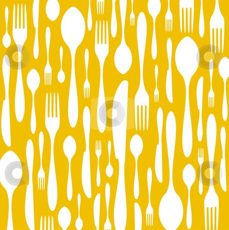 Cutlery pattern on yellow background stock vector clipart, Spoon, knife and fork pattern. White color on yellow background. Vector available by Cienpies Design