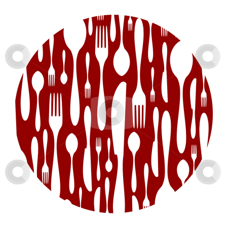 Cutlery pattern on red background stock vector clipart, Spoon, knife and fork rounded pattern. Food, restaurant, menu design with cutlery silhouette background. Suitable for print on a plate. Vector available by Cienpies Design