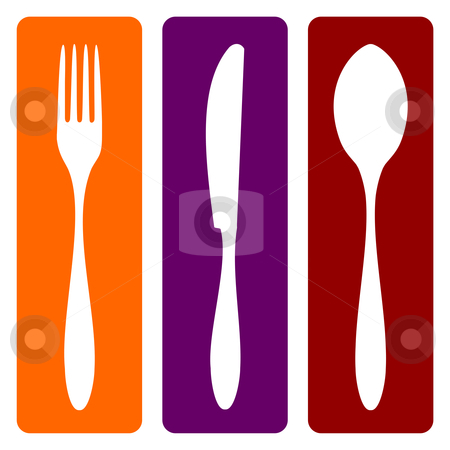 Fork, knife and spoon  stock vector clipart, Cutlery icons. Fork, knife and spoon silhouettes on different backgrounds. Vector avaliable by Cienpies Design