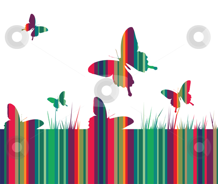 Butterflies and colorful grass background stock vector clipart, Butterfly and spring motif design. Striped colored texture with growing grass on white background. Vector available by Cienpies Design