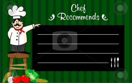 Chef with a blackboard for his recommendations  stock vector clipart, Funny chef on a wooden bench, holding a blackboard where the recommendations are written daily. Vegetables at left corner. Striped green background. by Cienpies Design