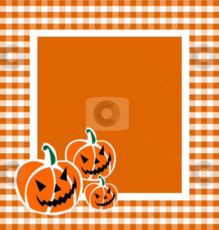 Halloween Pumpkin Background stock vector clipart, Halloween pumpkin faces in a grid framework. Orange background. Vector available by Cienpies Design