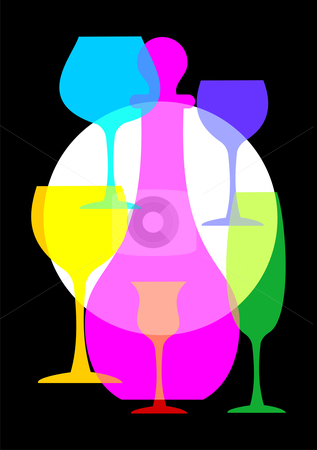 Wine glasses and bottle set stock vector clipart, Colorful wine glasses and bottle set on black background by Cienpies Design