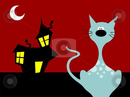 Halloween night cat  stock vector clipart, Halloween night cat on a scary background. Vector available by Cienpies Design