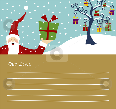 Christmas series: Happy Santa Claus and Christmas tree card stock vector clipart, Happy Santa Claus and Christmas tree with lots of gifts letter background by Cienpies Design