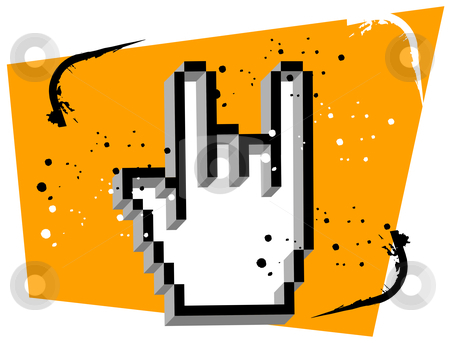 Hand Cursor Metal Music stock vector clipart, Hand cursor making the gesture of metal music. Orange splattered background. Suitable for logo. Vector available by Cienpies Design
