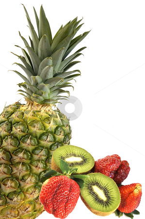 Pineapple, kiwi and strawberry. stock photo, Cut kiwi, strawberry and pineapple isolated over white. by Liana Bukhtyyarova
