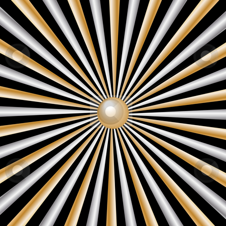 Sunburst rays gold and silver on black background stock vector clipart, Sunburst rays gold and silver abstract on black background by toots77