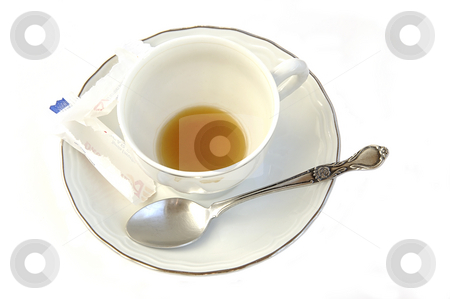 Drunk coffee.  stock photo, Drunk coffee. Empty used coffee cup, saucer and silver spoon isolated over white. by Liana Bukhtyyarova