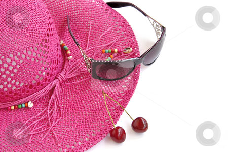 Pink beach hat, glasses and two sweet cherries on white.  stock photo, Pink beach hat, sun glasses and two sweet cherries on white. Summer's theme. by Liana Bukhtyyarova