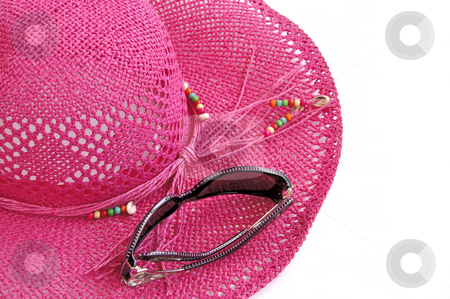 Beach hat and glasses isolated over white.  stock photo, Pink beach hat and sun glasses isolated over white. Holiday?? by Liana Bukhtyyarova