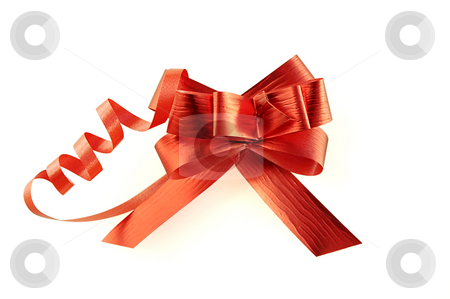 Red ribbon. stock photo, Red ribbon isolated over white with clipping path. Can be used in placing on top of items - gifts, products, etc. by Liana Bukhtyyarova