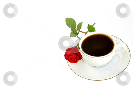 Cup of coffee and small red rose isolated over white. stock photo, Cup of coffee and small red rose isolated over white with space for text. by Liana Bukhtyyarova