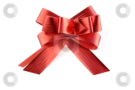 Red ribbon. stock photo, Red ribbon on white with clipping path. Can be used in placing on top of items - gifts, products, etc. by Liana Bukhtyyarova