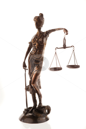 Scales of Justice Sculpture stock photo, Sculpture of the scales of justice. Vertical. by Erwin Johann Wodicka
