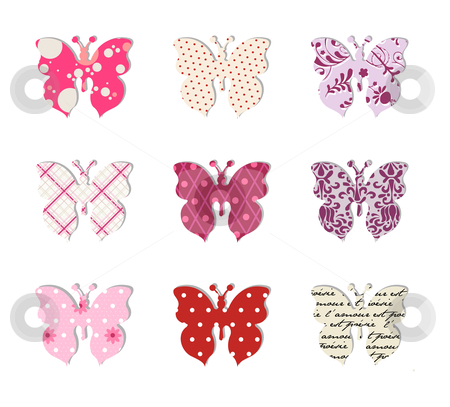Butterfly set. Pink, red and warm tones. stock vector clipart, Pattern of nine different textured butterflies. Isolated on white background by Cienpies Design