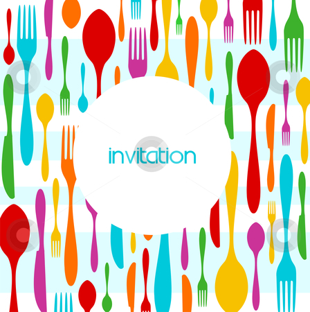 Cutlery colorful pattern invitation stock vector clipart, Food, restaurant, menu design with colorful cutlery silhouette background. Suitable as invitation dinner card. Vector available by Cienpies Design