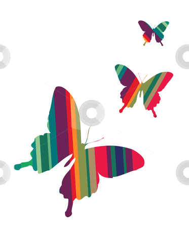 Butterflies on white background stock vector clipart, Butterflies colorful striped textured on white background. Vector available by Cienpies Design