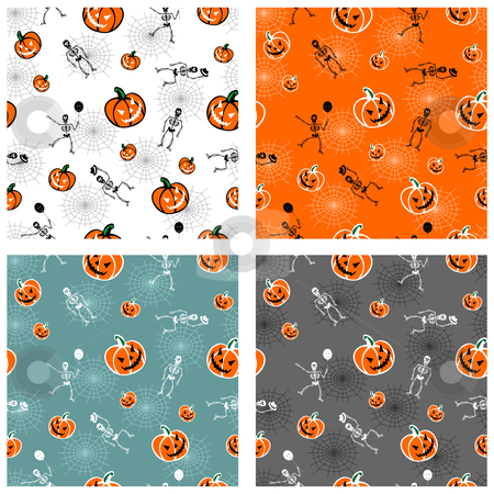 Halloween pumpkins and skeleton backgrounds stock vector clipart, Halloween pumpkins and skeleton on colour backgrounds. Vector available by Cienpies Design