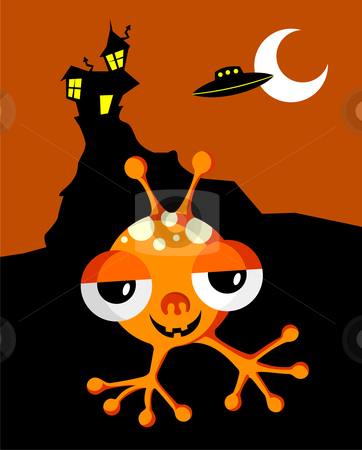 Halloween Monster  stock vector clipart, Funny Space Monster On Halloween Background. Vector available by Cienpies Design