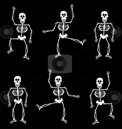 Halloween Skeleton Pattern. Black Background stock vector clipart, Halloween skeletons dancing on black background. Vector available by Cienpies Design