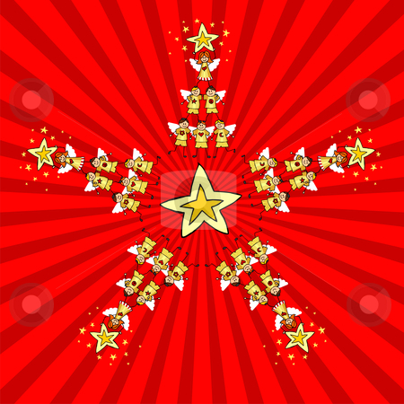 Kids Christmas Star stock vector clipart, Children climb together to form trees as the points of a Christmas star. Red background. Vector available by Cienpies Design