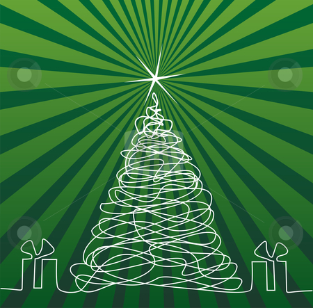 Christmas Tree Drawing stock vector clipart, White outline drawing Christmas tree and gifts. Shiny star on top. Sriped green background. Vector available by Cienpies Design