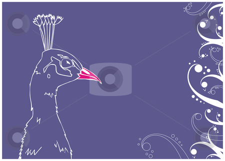 Peacock illustration on blue background stock vector clipart, Peacock outline illustration on blue background. Vector available by Cienpies Design
