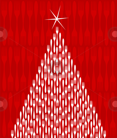 Christmas Tree Gourmet  stock vector clipart, Christmas Tree made of white forks. Shiny star on top. Fork red pattern on the background. Vector file available. by Cienpies Design