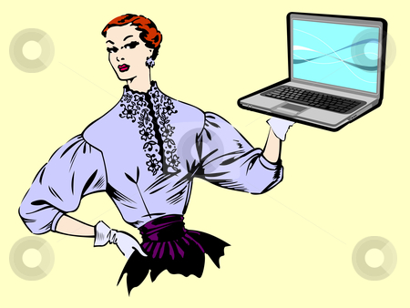 Woman showing notebook stock vector clipart, Woman of the fifties holding in her hand a pc with a blue modern background on the screen. Contrast concept. Vector available by Cienpies Design