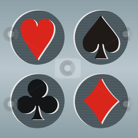 Poker playcard icons stock vector clipart, Poker playcards icons in a gray frame with circles on striped background. Vector available by Cienpies Design