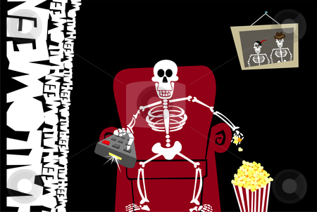 Halloween funny background. Greeting card stock vector clipart, Halloween skeleton zapping and eating popcorn on a red couch. Black background. Vector available by Cienpies Design