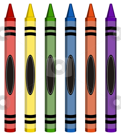 Colorful Large Crayons stock vector clipart, Six colorful crayons isolated on white background by Cienpies Design
