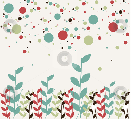 Floral and bubbles background stock vector clipart, Pattern of natural colorful branches and a bubbles design. White background by Cienpies Design
