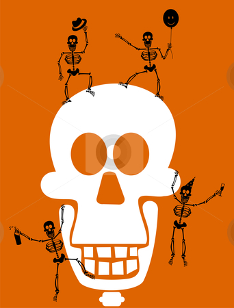 Halloween Skull and skeletons. Greeting card stock vector clipart, Halloween black skeletons, having a party with a white skull. Orange background. Vector available by Cienpies Design