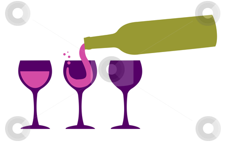 Wine bottle serving wineglasses stock vector clipart, Bottle serving red wine in three wineglasses. White background by Cienpies Design