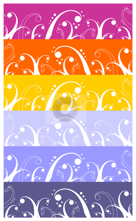 Waves and curls pattern background stock vector clipart, Background with waves, curls and bubbles pattern; element for design.  Wide colorful strip background. Vector available by Cienpies Design