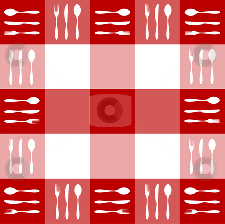 Red tablecloth texture with cutlery pattern stock vector clipart, Food, restaurant, menu design with cutlery silhouettes pattern on red tablecloth texture. Vector available by Cienpies Design