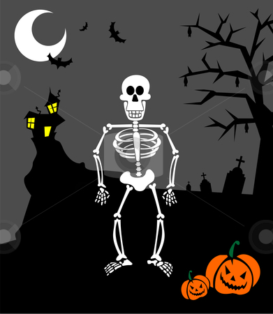 Halloween pumpkins and skeleton. Scary background stock vector clipart, Halloween pumpkins and skeleton on a graveyard. Scary background. Vector available by Cienpies Design