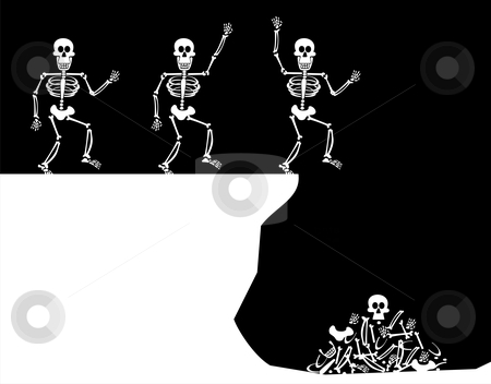 Halloween Greetings. Skeleton Jump stock vector clipart, Halloween Skeleton jumping off a cliff. Four stages till bones piled up. Black background. Vector available by Cienpies Design