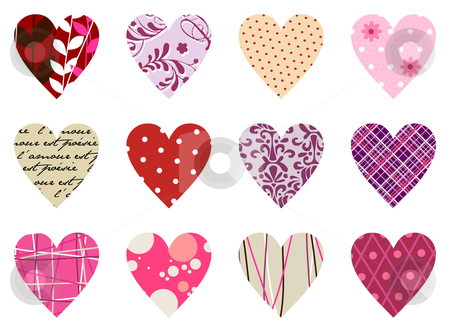 Trendy hearts pattern. Isolated on white stock vector clipart, Set of twelve hearts of different textures. Red, pink and warm tones, on white background by Cienpies Design