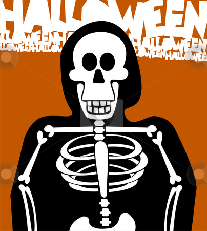 Halloween Skeleton Background. Greeting Card stock vector clipart, Halloween skeleton dressed in black. Orange background. Vector available by Cienpies Design