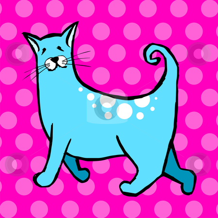 Cute cat on pink background  stock vector clipart, Cute cat with curly tail on light blue and pink background. Vector avaliable by Cienpies Design