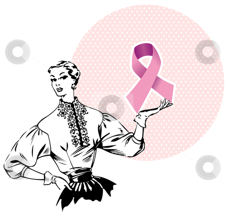 Woman holding Breast Cancer Ribbon  stock vector clipart, Pink breast cancer ribbon being hold by a woman of the fifties. Vector file by Cienpies Design