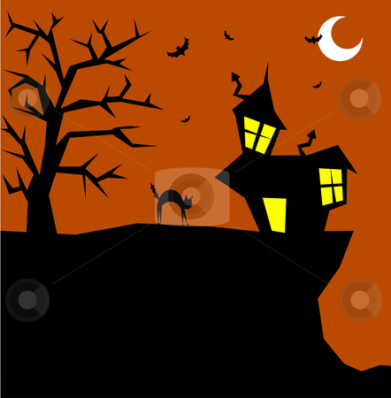 Halloween cat on a scary background stock vector clipart, Halloween cat bristling on a scary background. Vector available by Cienpies Design