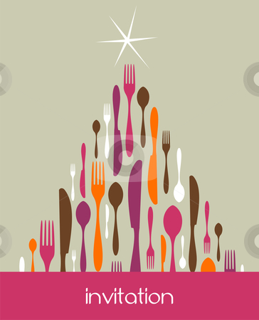 Christmas Tree Cutlery Made stock vector clipart, Christmas Tree Cutlery. Fork, spoon and knife pattern forming a tree with a shiny white star on top. Pastel color background. Usable as invitation card. Vector file available. by Cienpies Design