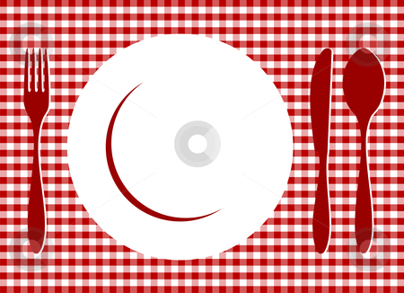 Place Setting on red tablecloth stock vector clipart, Place Setting. Plate, spoon, fork, knife and plate on red cross-weave gingham tiles tablecloth. Food, restaurant, menu design with cutlery and plate silhouettes background. Vector available by Cienpies Design