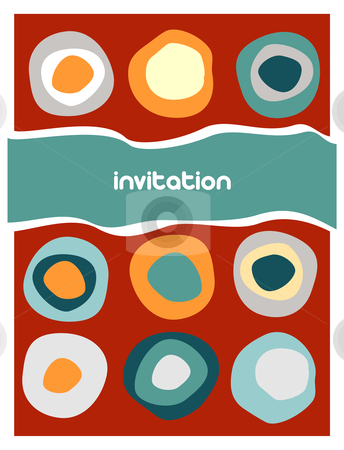 Colorful circles pattern on red stock vector clipart, Colorful circles pattern on red background. Retro style. Usable as invitation card. Vector available by Cienpies Design
